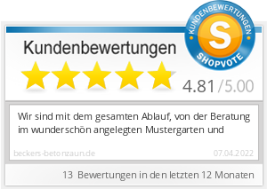 Shopbewertung - beckers-betonzaun.de
